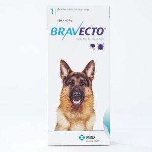 ANTIPARASITAIRE Bravecto 1000 mg pour les grands chiens de 20 à 40