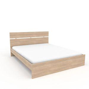 STRUCTURE DE LIT Cadre + Tête de lit Chêne clair 160*200 cm - LILLE