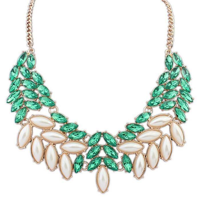 Femmes Populaire De Pour Collier Perle Les Feuilles Clavicule Cœurte bY6g7fyv