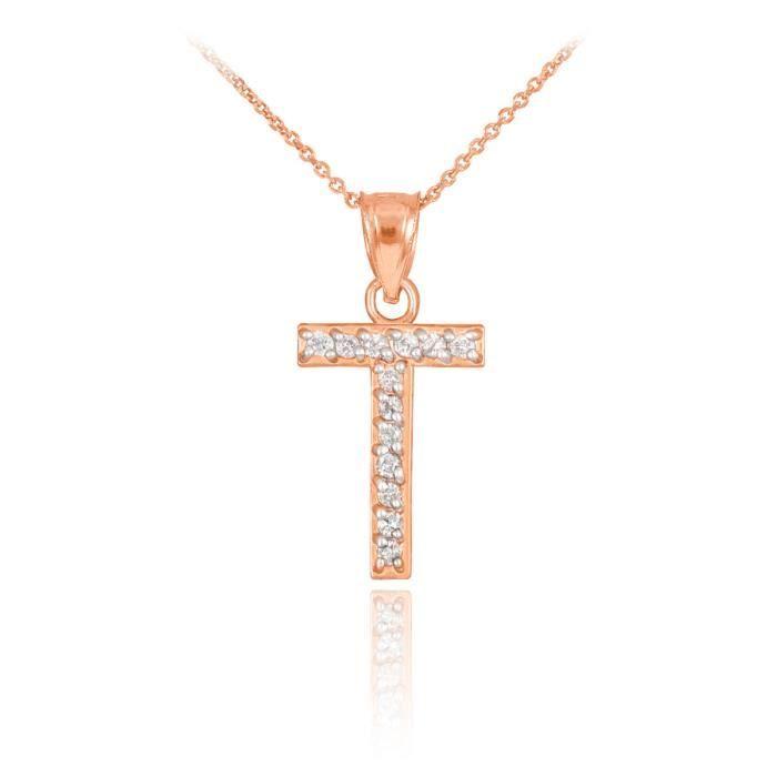 Pendentif 10 ct 471/1000 or rose lettre initialeavec pendentif T Diamants Initial
