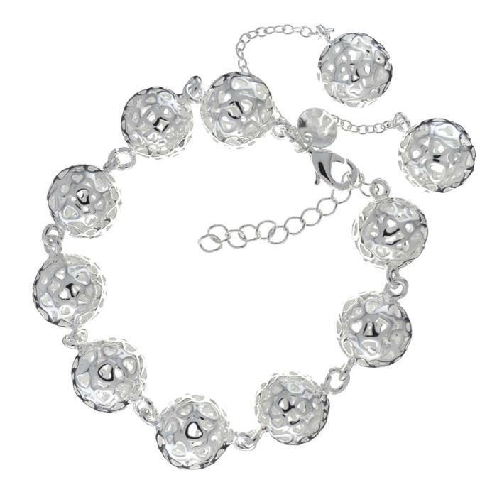 Bracelet breloque Argenté argent sterling 925/00 Bijou fantaisie haut de gamme Femme Blanc Fleurs Melissa