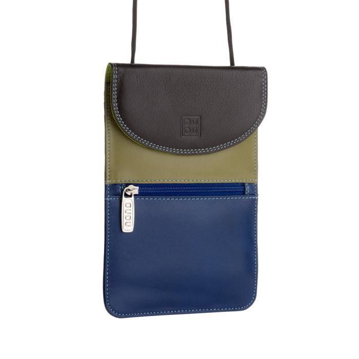 36565264e2 Petit sac plat en cuir pour femme multicolore réalisé en cuir souple  véritable de vachette. Fermeture à rabat avec bouton pressio.