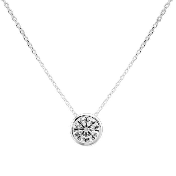 EVER FAITH®-Lunaire-Cadeau Mère Collier Argent 925 7MM Cercle Zircon Serti Clos Solitaire Elégant Classique N06490-1