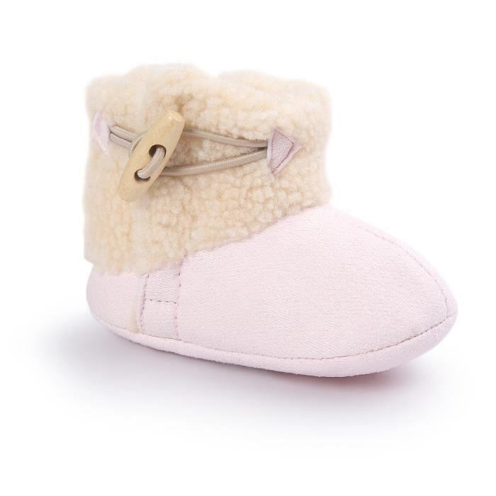Rose Souple Bottes de neige Bébé d'hiver Chaussure de Bébé Fille et Garçon premier pas en coton 0-6-12 mois 12-16 n5PDR