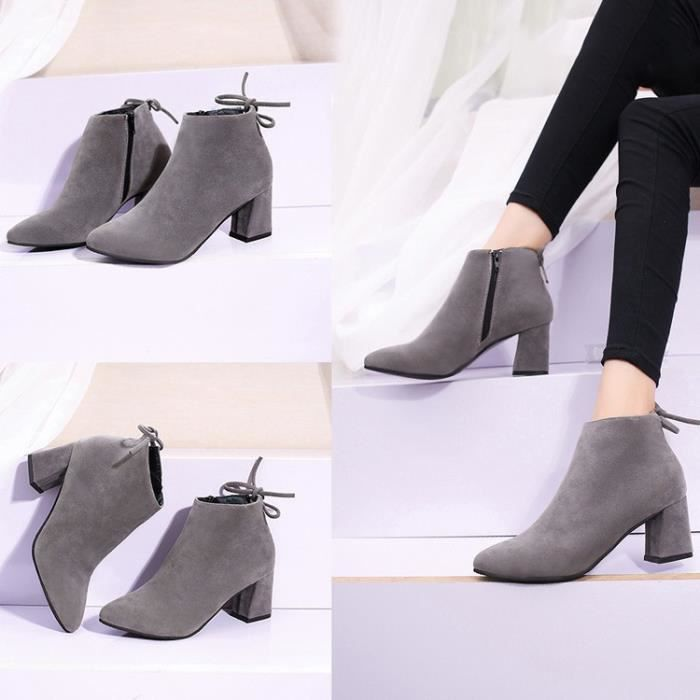 Cuir véritable Martin Bottes automne et en hiver Mode épais talon haut talon, bottes femme bottes cheville,marron foncé,38