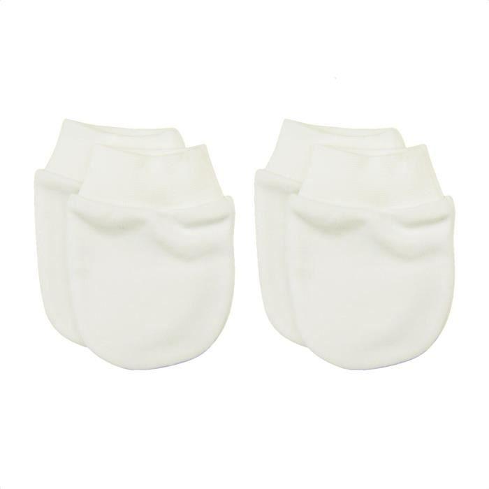 Moufles naissance en coton biologique- lot de 2 paires - gants anti  griffures U Écru 7de7634f52f
