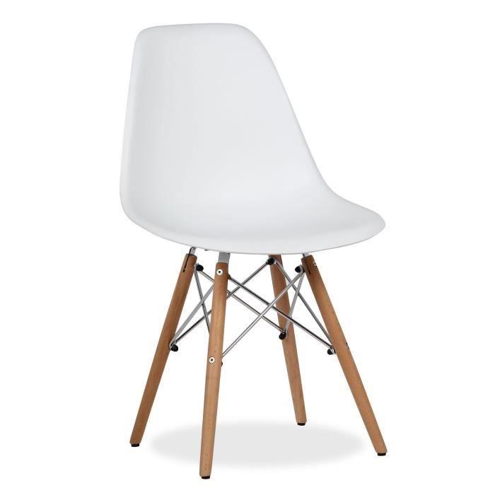 Chaise Wooden Chrome Edition Blanc Unique Achat Vente Chaise