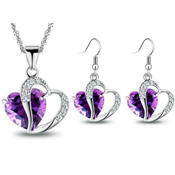 Parure coeur oxyde de zirconium cristaux swarovski elements plaqué or blanc Couleur Violet