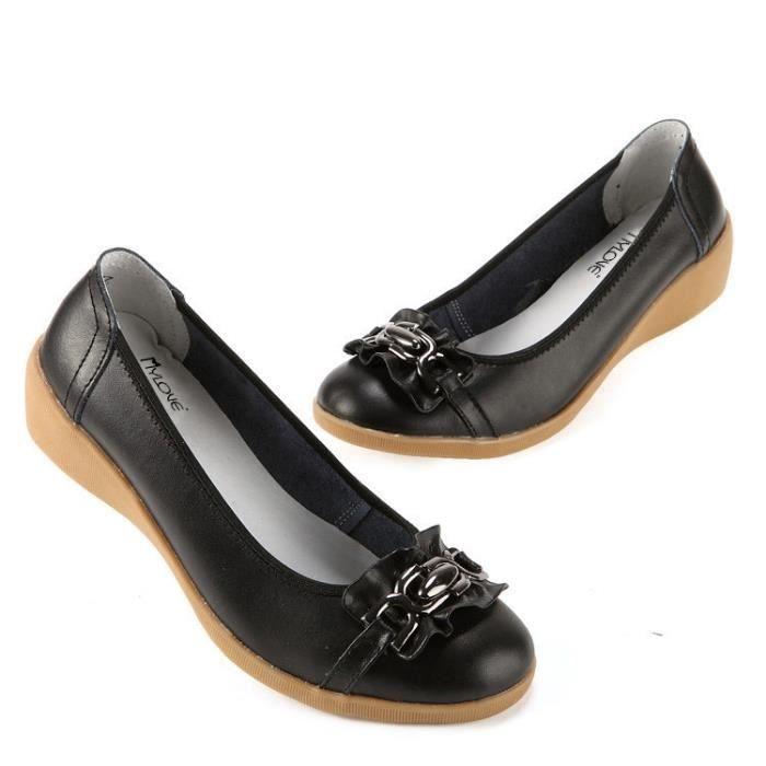 Loisirs Chaussons en cuir véritable femme Compensées Chaussures Slip-on Chaussures d'été à bout rond femme Chaussures vdyMQaV