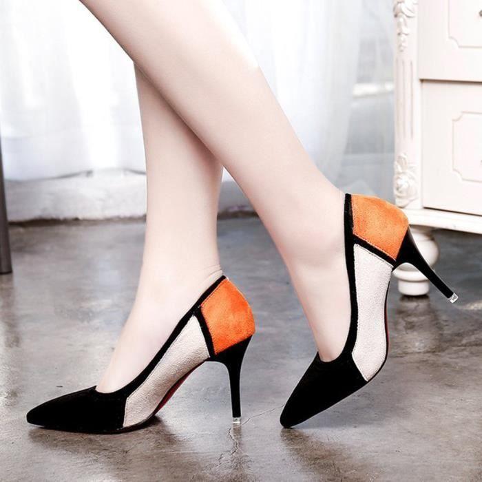 Hotskynie®Femmes sandales printemps casual pointues troupeau patchwork talons hauts Noir*SJF71221732BK