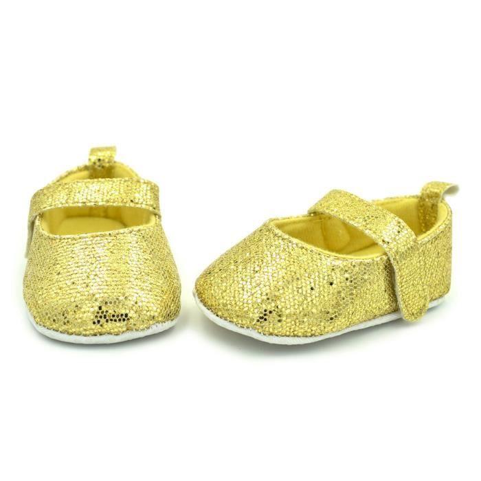 BOTTE Nouveau-né Toddler Baby Infants Filles Chaussures Mignon Paillettes Douces Anti-slip Chaussures@JauneHM