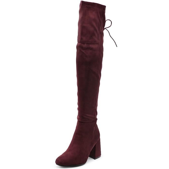 Shoe Faux Suede Back Lace-up Over The Knee Zip Up Long Boots ZCK4R Taille-39 1-2 1a7Q3