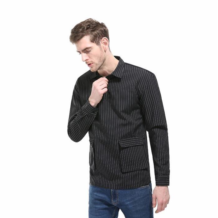 Chemise à manches longues à manches longues pour hommes Automne Slim@Noir