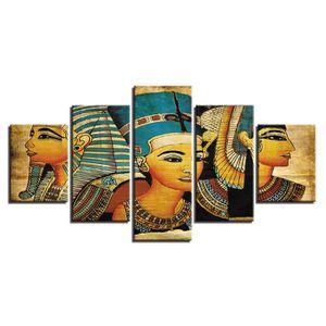 TABLEAU - TOILE Toiles imprimées 5 pièces Pharaon de l'Egypte anti