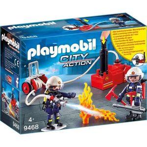 FIGURINE - PERSONNAGE PLAYMOBIL 9468 - City Action - Pompiers avec matér