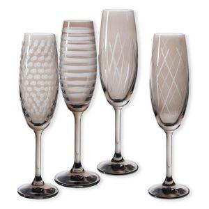 Verre à vin Flûtes à champagne taillées couleur taupe 20cl - L