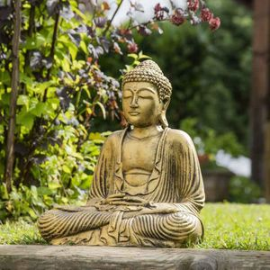 STATUE - STATUETTE Statue Bouddha assis position offrande doré 42 cm
