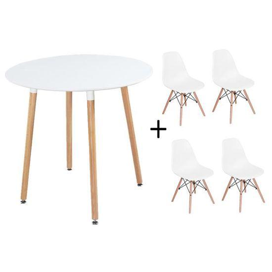 Dora Ensemble Complet Table Et 4 Chaise De Salle A Manger Couleur