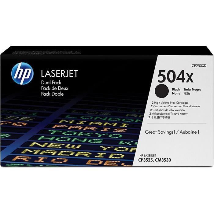 HP Cartouche de toner 504X Colour LaserJet original - Haute Capacité - 2 x 10.500 pages - Pack de 2 - Noir
