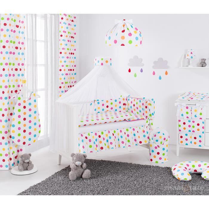 5658a38a14723 Set 13 pièces parure linge de lit bébé 60x120cm pois rose - Achat ...