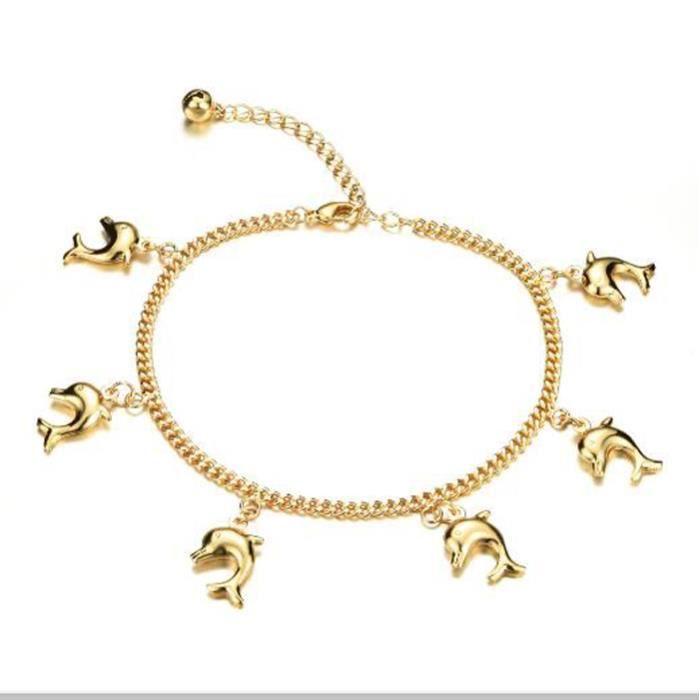 BraceletMignon Pêché Pendentif Femme bracelets de Cheville Nouvelle Mode Or Couleur Femmes Vintage Cheville Bijoux Bracelet