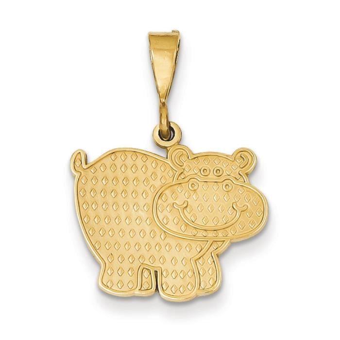 Poli 14 carats pendentif hippopotame-Dimensions :26,8 x 18,7–mm