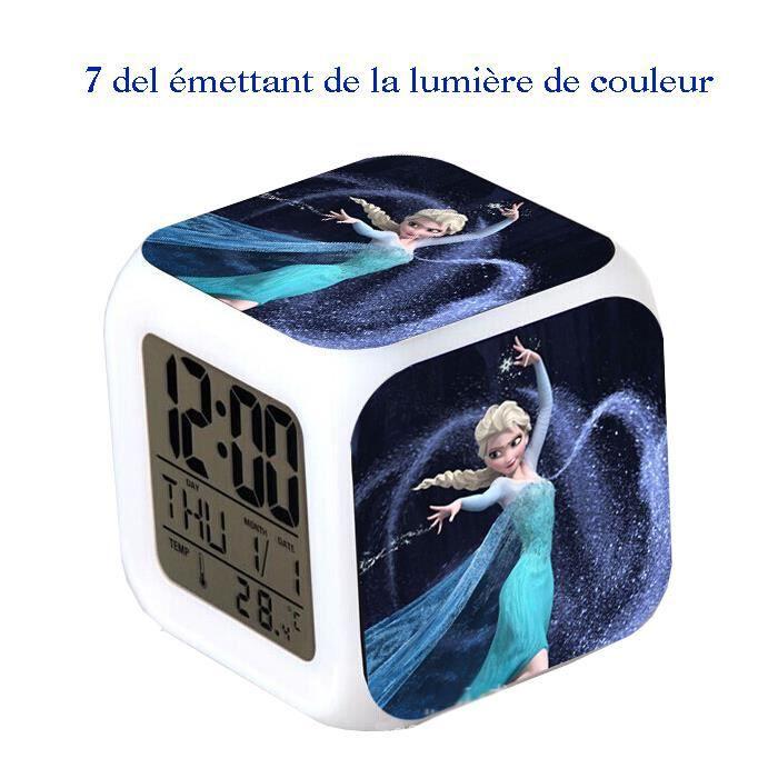 Reveil Horloge Cube Led 7couleurs Reine Des Neiges