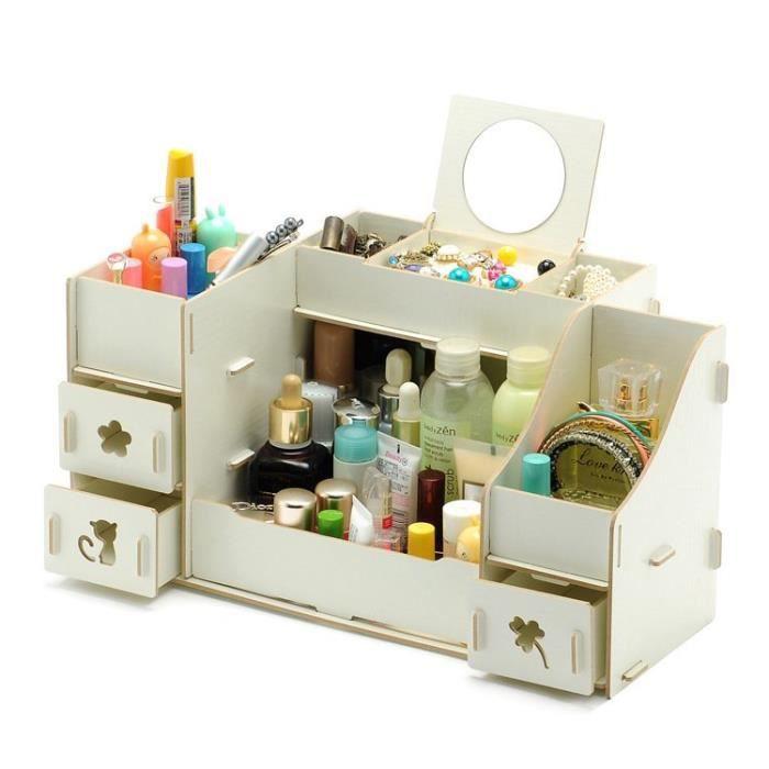 tag re bo te rangement maquillage diy en bois blanc achat vente boite de rangement soldes. Black Bedroom Furniture Sets. Home Design Ideas