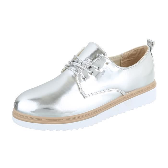 Femme chaussures flâneurs lacer argent 36