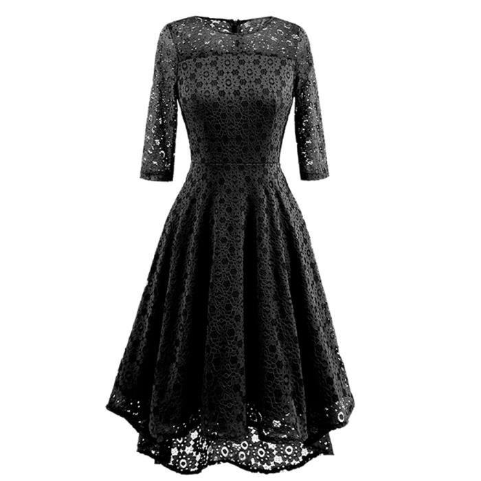 exquisgift®Femmes Vintage robe dentelle O cou irrégulière mariage cocktail partie robe NOIR~XXL71129491BKA
