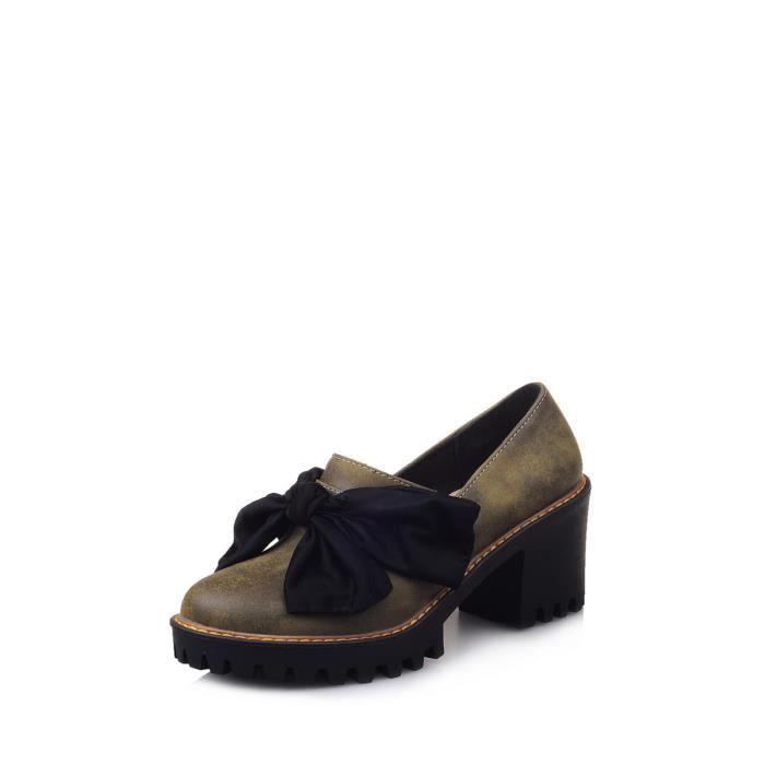 Escarpin Femmes Pompes douce arc noeud ornement carré chaussures à talons à la mode 6062762