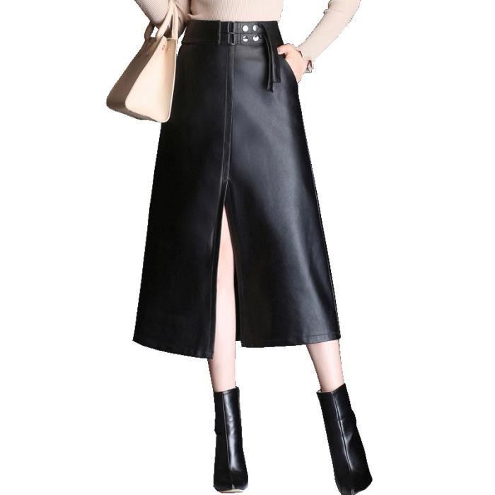 7bc05c2e6de324 Jupe Femme en Cuir PU longue Taille haute Slim fit Couleur unie mode Noir