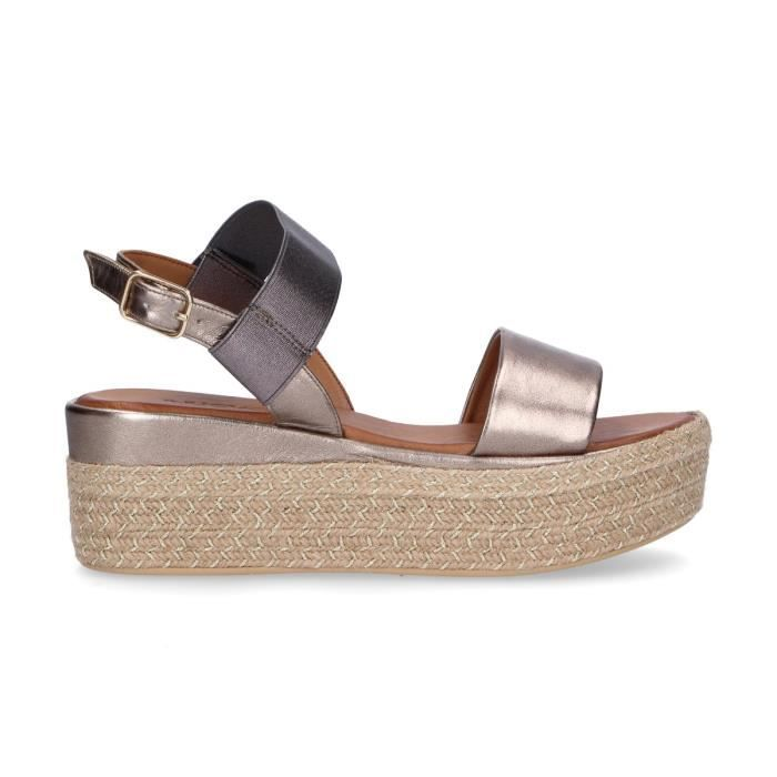 Or Chaussures 8865platinum Compensées Inuovo Femme Cuir kuOlPXZiwT
