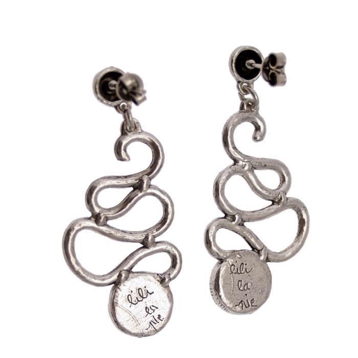 LILI la PIE Boucles doreilles clou pendant grand métal argenté collection VICE VERSA