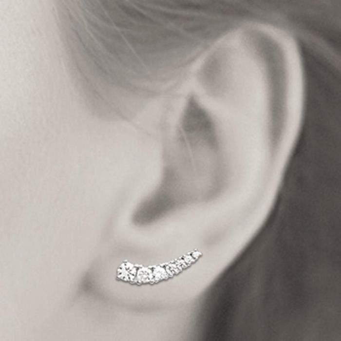 MARY JANE - Boucles doreilles Argent - Larg:11mm - Haut:4mm - Femme