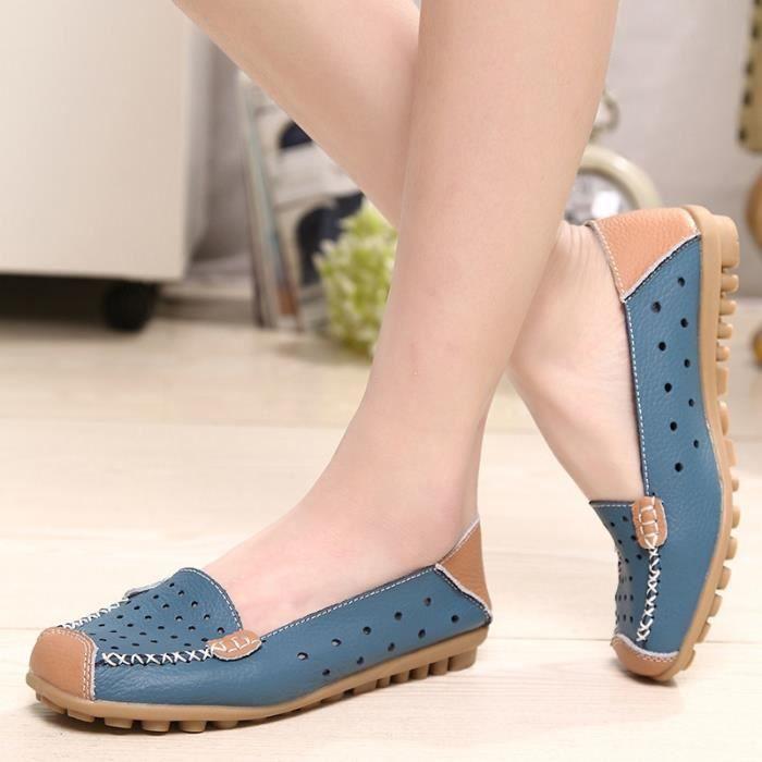 Chaussures en cuir Slip-on femme Flats Confort Chaussures Femme Printemps Eté Mocassins Chaussures plates,bleu,40,2804_2804