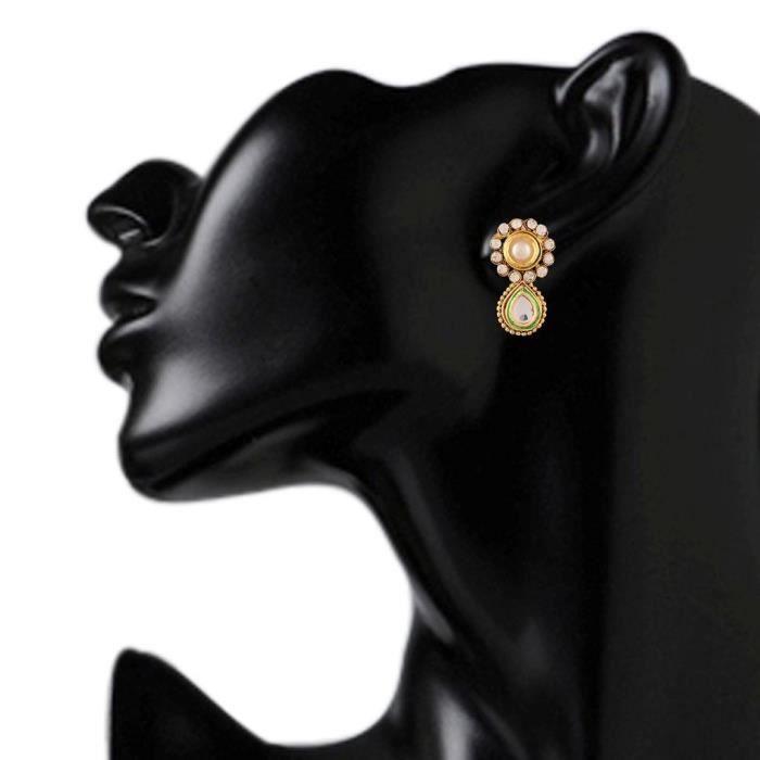 Femmes de mariée blanche en alliage métallique Ensemble de bijoux avec collier et boucles doreilles pourTIHD6