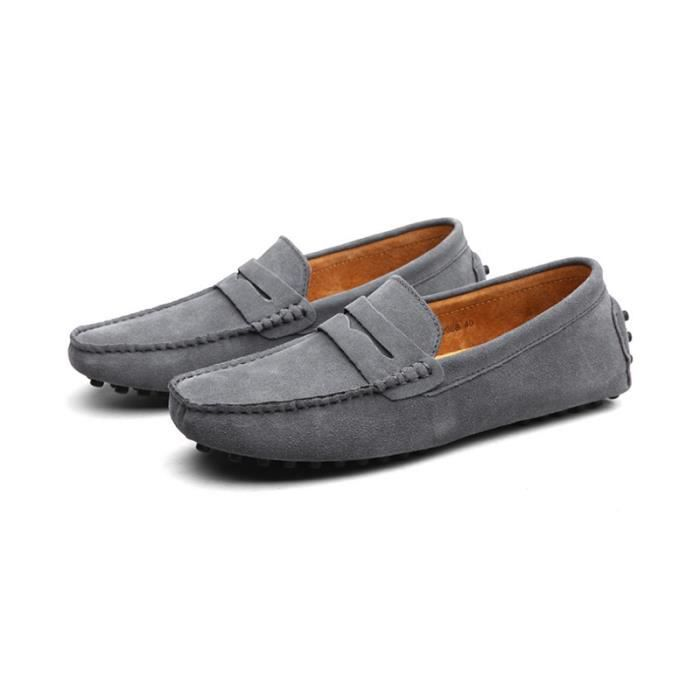 Mocassins Hommes Cuir Ultra Comfortable Appartements Chaussures DTG-XZ071Gris43 3bn2CDg
