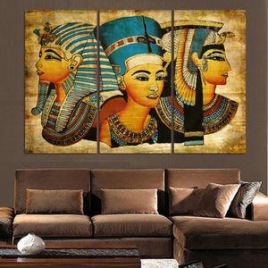 TABLEAU - TOILE 3 Pièces Pharaon De L'egypte Ancienne Décoration S