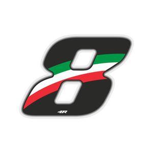 ACCESSOIRE CASQUE Nombre de Course 8 Grand, Drapeau Italien, 10 x 7,