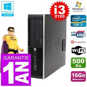 UNITÉ CENTRALE + ÉCRAN PC HP 6200 SFF Intel i3-2120 RAM 16Go Disque 500Go