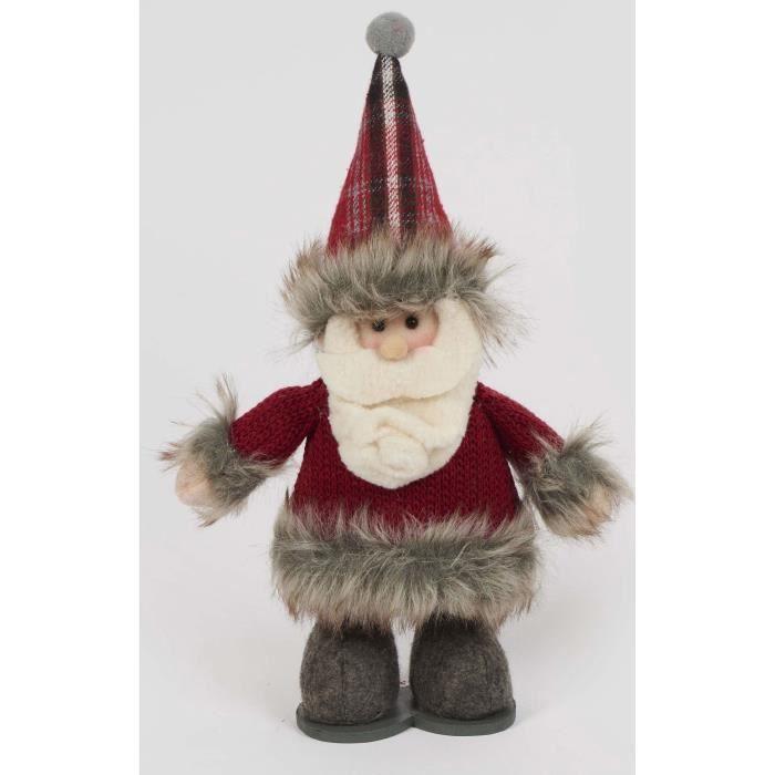 Personnage de Noël Père Noël Rouge et gris 23 cm