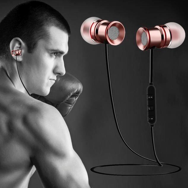 Casque Bluetooth Sans Fil Avec Microphone Et Aimant Activité Sportive Rg Q41