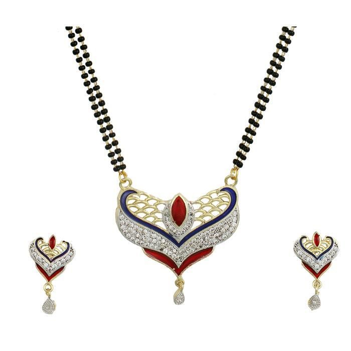 Womens American Diamond Gold Plated galsutra Pendant With Chain And Earrings ForVI153