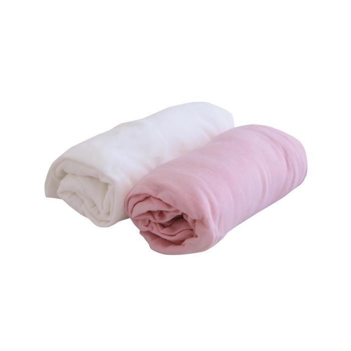DRAP HOUSSE DOUX NID Lot de 2 draps housse Blanc/rose 70x140 c