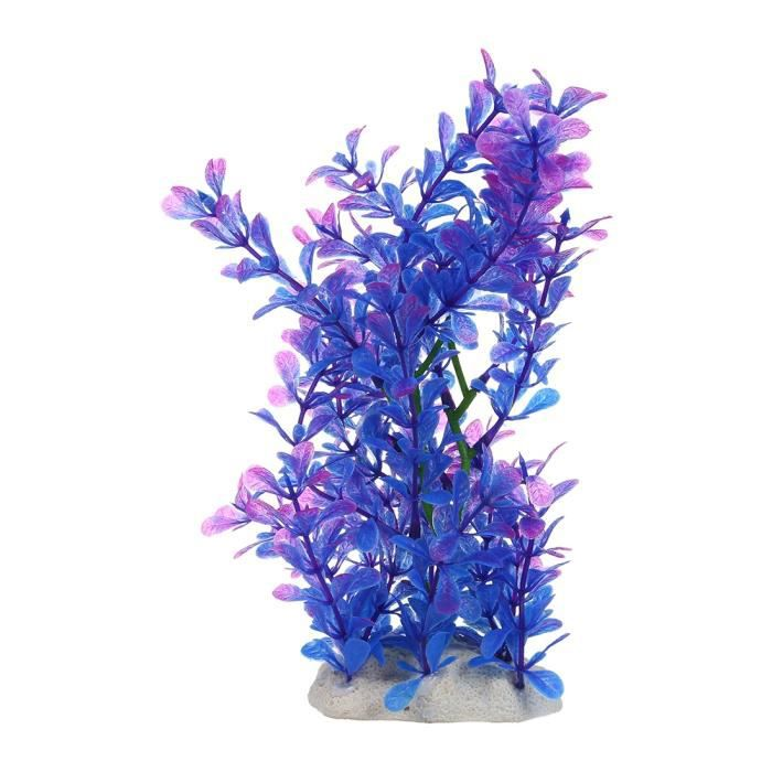 1 X Plante D'art 15-20 Cm Decoration D'aquarium D'eau Violet Bleu Bleu-5159