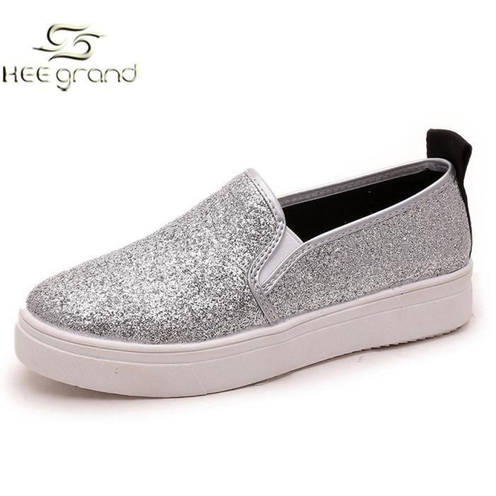Mocassin Casual Femmes Chaussures Ville de Slip-on A Pailleté HEE GRAND iS1Y19xlA