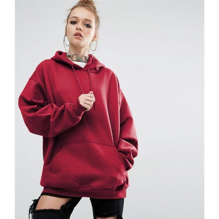 a0d8d2387fd13 sweat-shirt pull-over oversize à capuche femme lâche hoodies-hooded  automne printemps hip-hop manche longue