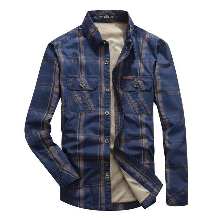 chemise d 39 hiver homme en molleton manches longues casual chemise pais chaude bleu fonc achat. Black Bedroom Furniture Sets. Home Design Ideas