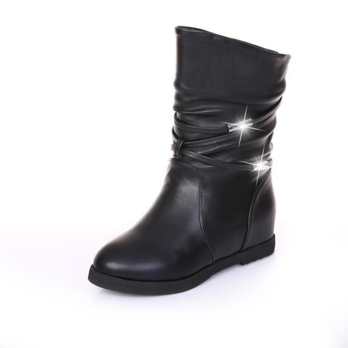 plateforme automne bottes talon compensé Chaussures Femme avec la plate-forme plus unique mode femme bottes occasionnels,noir,38